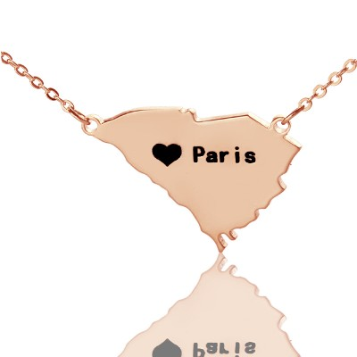 South Carolina State Shaped Necklaces - Rose Gold
