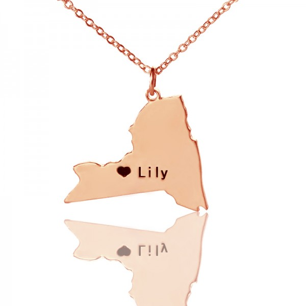 Personalised NY State Shaped Necklaces - Rose Gold