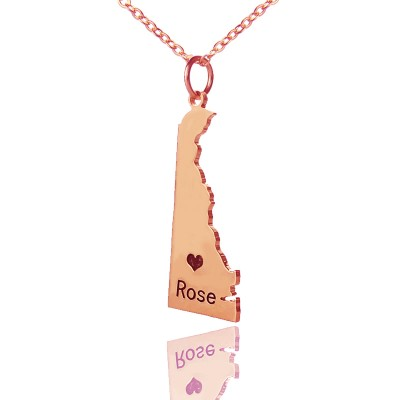 Custom Delaware State Shaped Necklaces - Rose Gold