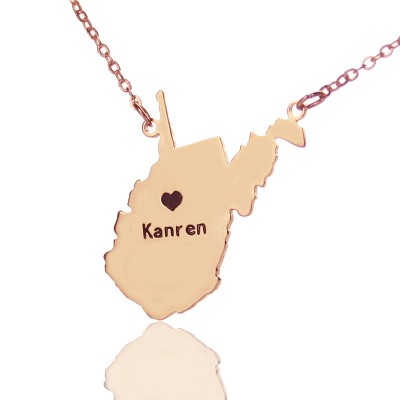 West Virginia State Shaped Necklaces - Rose Gold