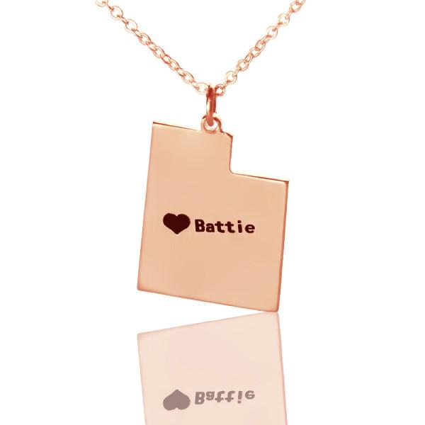 Custom Utah State Shaped Necklaces - Rose Gold