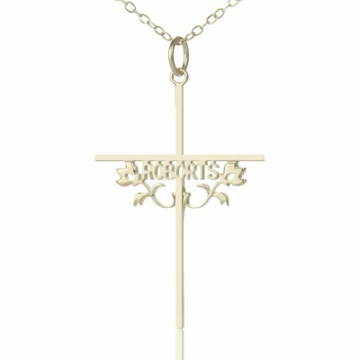 Solid White Gold Cross Name Name Necklace s with Rose