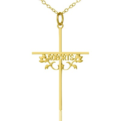 Gold Cross Name Name Necklace s with Rose