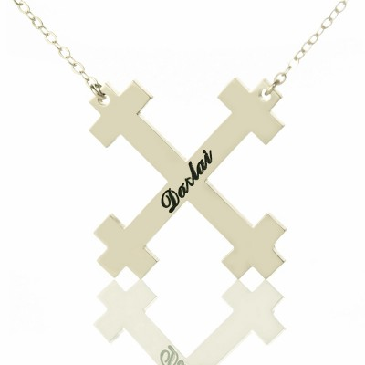 Solid Gold Julian Cross Name Name Necklace s Troubadour Cross Jewellery