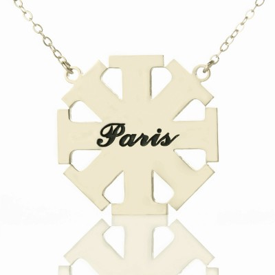 Solid White Gold Customised Cross Name Necklace with Name