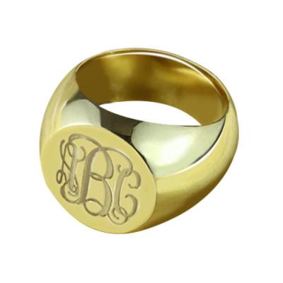 Engraved Circle Monogram Signet Ring - 18CT Gold