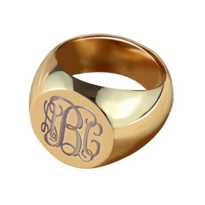 CIrcle Designs Signet Monogram Initial Ring Rose Gold