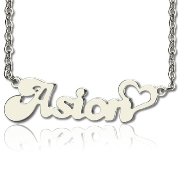 Custom BANANA Font Heart Shape Name Necklace White Gold 18ct