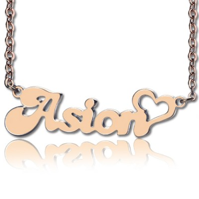 Personalised BANANA Font Heart Shape Name Necklace 18CT Rose Gold