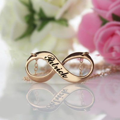 18CT Rose Gold Engraved Infinity Necklace
