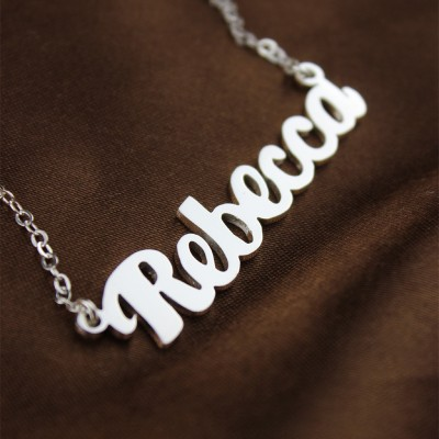 Personalised 18CT White Gold Puff Font Name Necklace