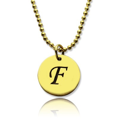 Personalised Initial Charm Discs Necklace - 18CT Gold