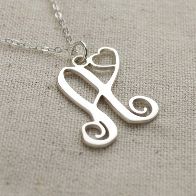 Custom One Initial With Heart Monogram Necklace Solid 18CT White Gold