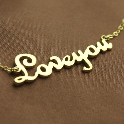 Personalised - 18CT Gold French Font I Love You Name Necklace