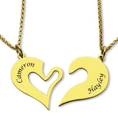 Double Name Heart Friend Necklace Couple Necklace Set - 18CT Gold