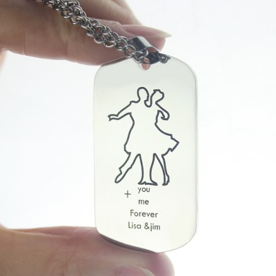 Solid Gold Dancing Theme Dog Tag Name Necklace
