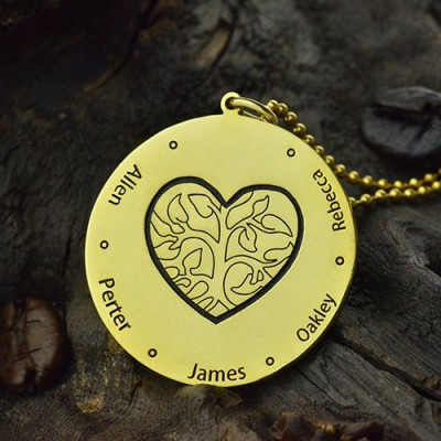 Heart Family Tree Necklace in 18CT Gold