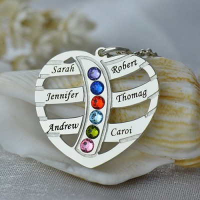 Solid Gold Moms Necklace With Kids Name Birthstone