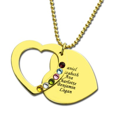 Heart Birthstones Necklace For Mother - Solid Gold