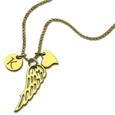 Good Luck Angel Wing Necklace with Initial Charm - 18CT Gold