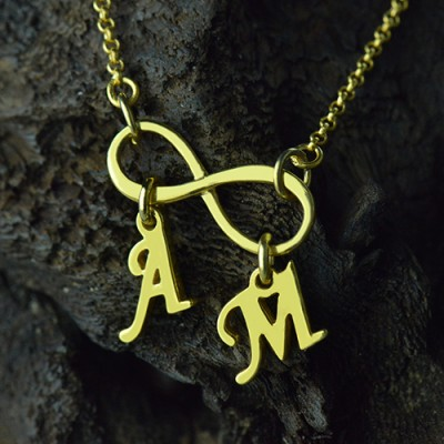 Infinity Pendant Double Initial - 18CT Gold