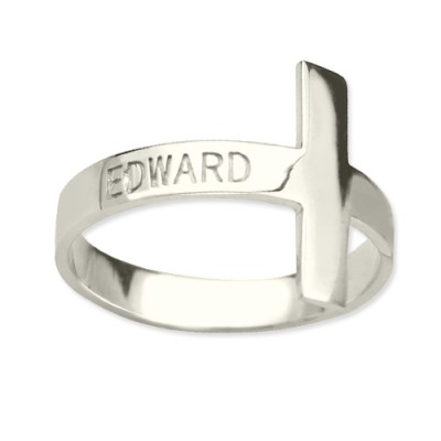 Engraved Name Cross Solid White Gold Rings