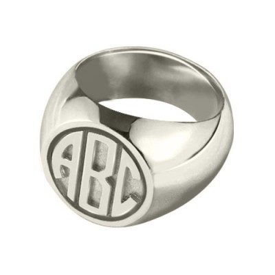 Signet Solid White Gold White Ring with Block Monogram