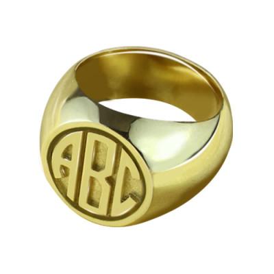 Customised Signet Ring with Block Monogram - 18CT Gold