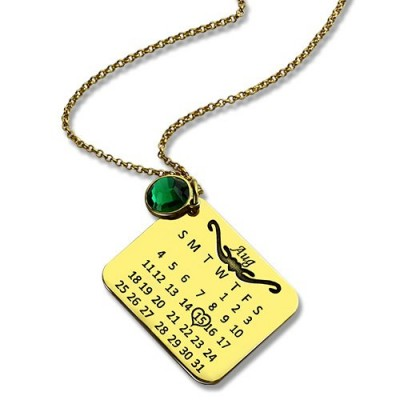 Birth Day Gifts - Birthday Calendar Necklace - 18CT Gold