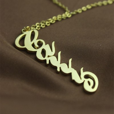 Solid Gold 18CT Personalised Vertical Carrie Style Name Necklace