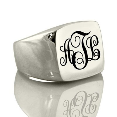 Personalised Signet Ring 18CT Gold with Monogram