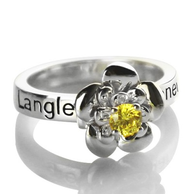 Promise Rose Solid White Gold Ring Engraved Name Birthstone