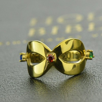 18CT Gold Engraved Infinity Birthstone Ring