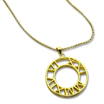 Double Circle Roman Numeral Name Necklace Clock Design Gold