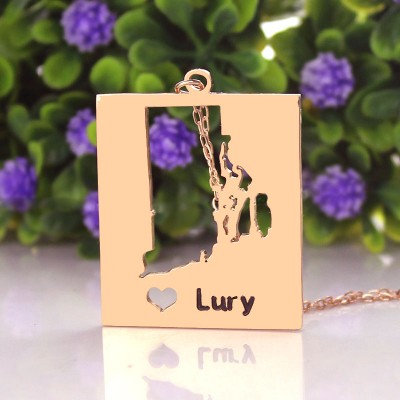 Personalised Rhode State Dog Tag - Rose Gold Plate