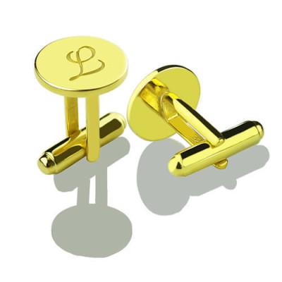 Custom Script Initial Cufflinks for Men - 18CT Gold