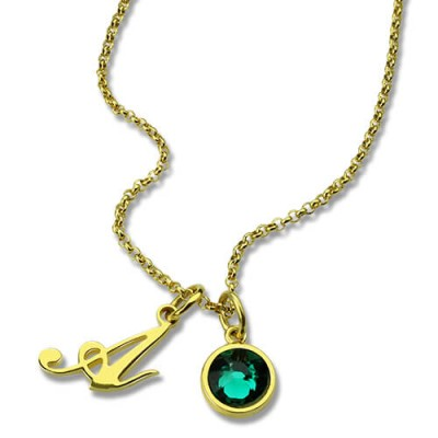 Custom Birthstone Initial Necklace - 18CT Gold