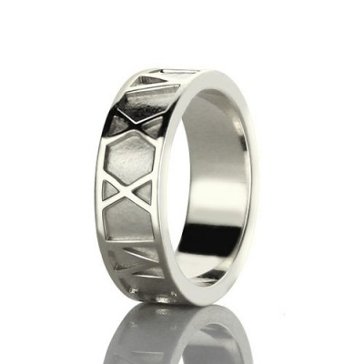Roman Numerals Band Solid White Gold Ring