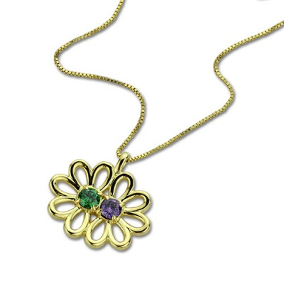 Double Flower Pendant with Birthstone 18CT Gold