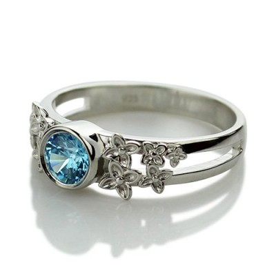Flower Engagement Birthstone Name Solid White Gold Ring