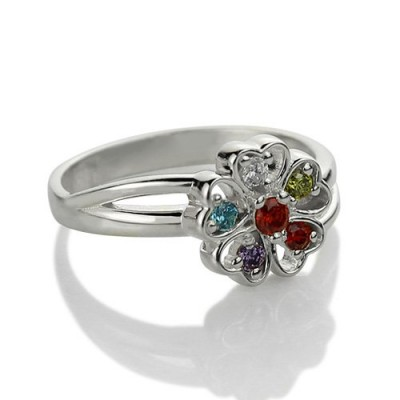Promise Flower Solid White Gold Ring Engraved Name Birthstone