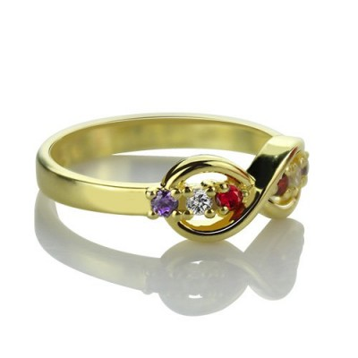 18CT Gold Infinity Promise Rings with Birthstone