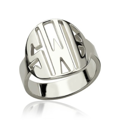 Cut Out Block Monogram Solid Gold Ring
