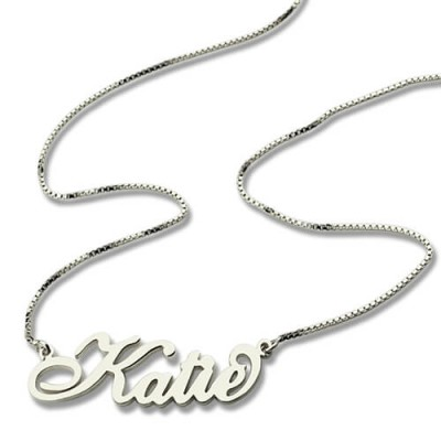 Solid Gold Nameplate Name Necklace Carrie Stering