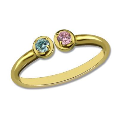 Dual Birthstone Ring - 18CT Gold