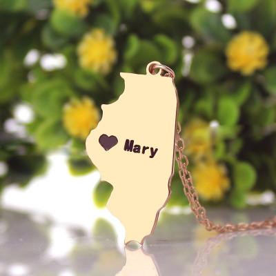 Custom Illinois State Shaped Necklaces - Rose Gold