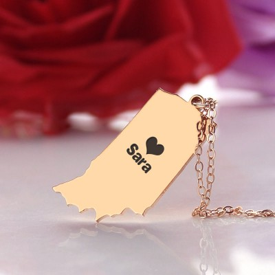 Custom Indiana State Shaped Necklaces - Rose Gold