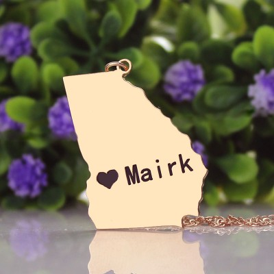 Custom Georgia State Shaped Necklaces - Rose Gold