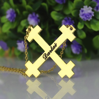 Gold Julian Cross Name Necklaces Troubadour Cross