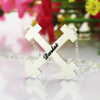 Solid Gold Julian Cross Name Name Necklace s Troubadour Cross Jewellery